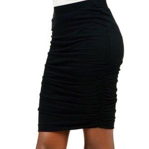 NEW Club Monaco Ruched Black Mini Skirt
